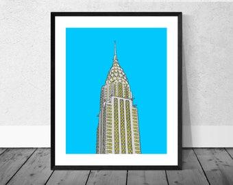 New York Art Print, New York Illustration, Chrysler Building, Architecture Print, Wallart, Home Décor, Illustration Print, NYC Print, USA