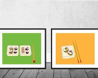 Set of 2 Sushi Art Prints, Sushi Art, Kitchen Art Print, Japan Art Print, Japanese Art, Kitchen Illustration, Sushi, Chopsticks, Food Art