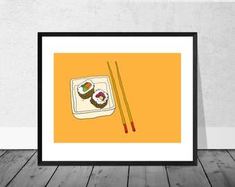 Kitchen Art Print, Japan Art Print, Japanese Art, Kitchen Illustration, Sushi, Chopsticks, Wallart, Home Décor,Food Art Print, Kitchen Decor