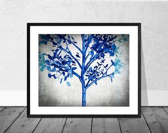 Blue Tree Print, Digital Painting, Cyanotype, Landcape, Tree Art. Landscape Art Print, Nature Art Print, Tree Art Print, Giclee