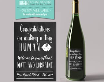 personalized new parent gift - new mom/mommy - new dad/daddy - new parent wine - baby shower gift - welcome to parenthood - congratulations