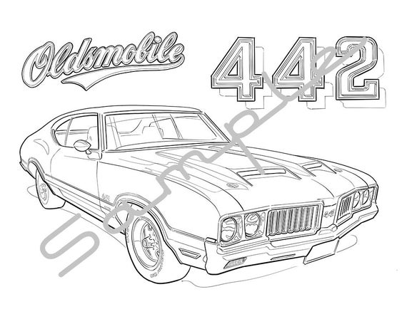 1970 olds 442 adult coloring page printable coloring page