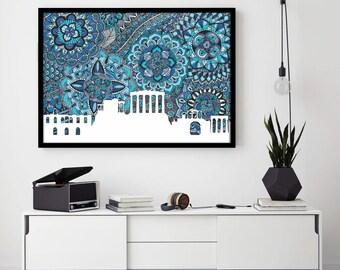Athens, Greece, Poster, Skyline, Print, Digital Illustration, Home Decore, Zentangle, Doolde, Blue, Art, Drawing, Parthenon, City, Gift