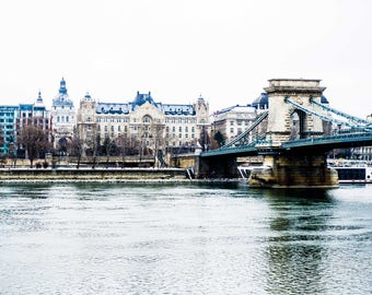 Budapest Landscape Print - Szechenyi Bridge - Danube - Budapest Winter - Snow - Fine Art Photography - Travel - Title: The Danube