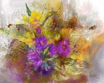 Lavender and yellow flowers