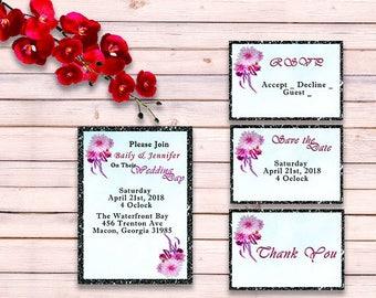 Boho Flower Wedding Invitation Suite - Boho Wedding Invitation Set - Printable Wedding Invitation - Editable Design - Wedding Invitation set
