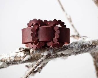 burgundy latigo bracelet
