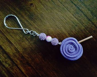 Polymer clay lolipop key chain