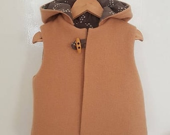 Caramel boys vest size 3. Upcycled 100% woolen blanket