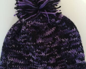 Black and purple knitted beanie