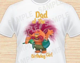 Dad of the Birthday Girl. Peppy, Trolls Digital File. Personalized Family Shirts, Birthday Party, Iron on Transfer, Printable. Instant