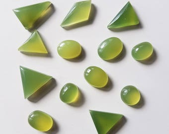 12 Assorted Green Jade Cabochons for Jewellery Making / Crafting