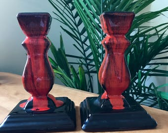 Pair of Blue Mountain Pottery Candlesticks   | Red and Black Glazed Ceramics | Vintage BMP | Candlestick Holders