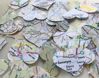 Travel Maps Hearts Confetti