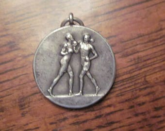 WORLD WAR TWO  boxing medal , silver issued 1943