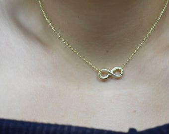 Sterling Silver Gold Plated Infinity Pendant Necklace