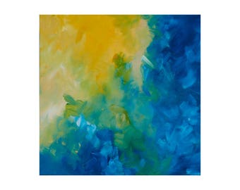 Large Abstract Painting Original Acrylic Painting Large Art Abstract Painting Original Painting on Canvas Light Blue, Yellow, Green