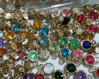 150 pieces Birthstone Charms Assorted Mix