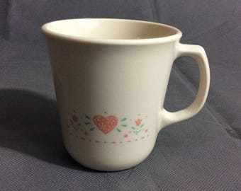 "Vintage Corelle by Corning Forever Yours Coffee / Tea Mug 3 1/2"" high"