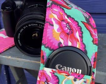 Camera Strap Cover with Lens Pocket Ready to Ship Canon Nikon DSLR Photographer Photography #115 Flowers Pink Tula Mint Kumari  Garden