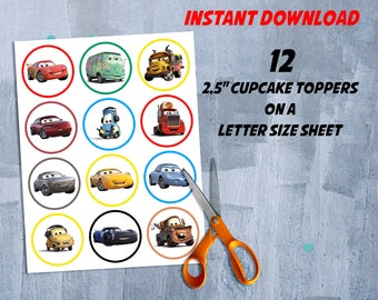 """Cars 3 Cupcake Toppers, Cars 3 Cake Topper, Cars 3 Birthday Party Decor, New Movie Disney Cars 2,5"""" Circles, INSTANT DOWNLOAD -DIY Printable"""