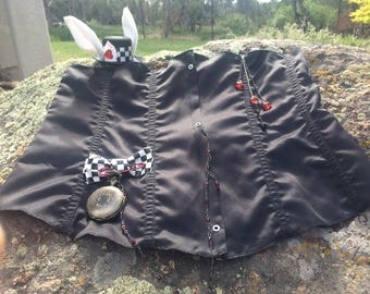 "White Rabbit waist cincher black 38"" and mini hat Steam Punk Wonderland corset + bunny ear fascinator & pocket watch case with chain"