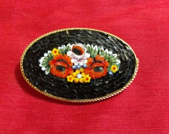 Large Italian Mosaic Pin-Floral Bouquet
