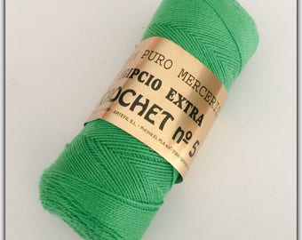Bead Crochet n ° 5 pure green Mercerized Egyptian cotton yarn