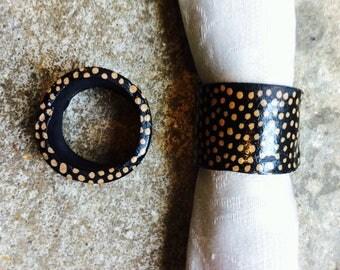set of handmade ceramic napkin rings