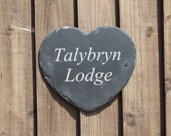 Engraved Heart House Signs