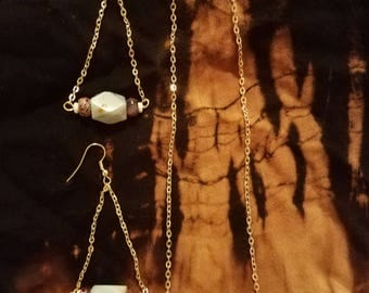 Argonite and Jasper gold necklace set