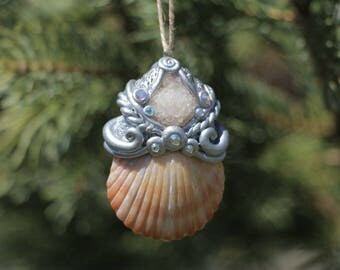 Silver polymer clay seashell quartz sculpture pendant