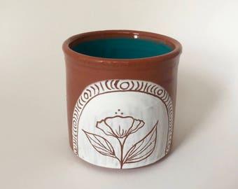 Hand Thrown Pottery Floral Tumbler Mug