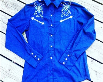 1960s Rodeo Snap Button Blouse