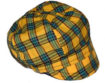 Yellow plaid cap