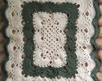 Crochet Afghan baby crib or car seat blanket