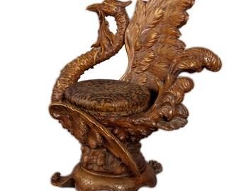 great carved mythological bird chair italy 1880