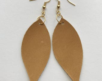 The Mary/Tan Leaf Leather Earrings
