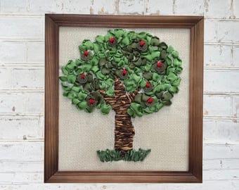 Ribbon Emroidery. Completed. Handmade. Handicraft.  Tree