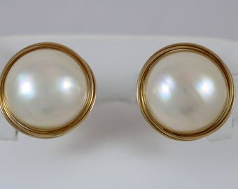 14k Yellow Gold 585 Chunky Round Button Faux Pearl Drop Omega Back Earrings 18.5g