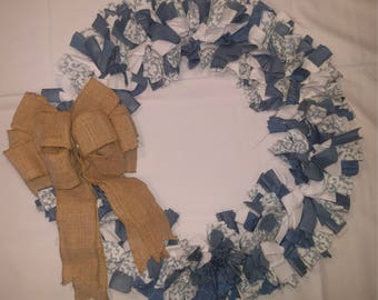 Country blue and white cloth wreath