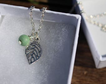 Leaf with Green Glass Accent