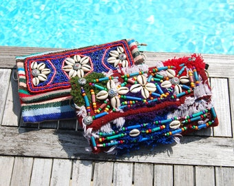 Multicolor clutch with hand embroidered shells and pearls applications