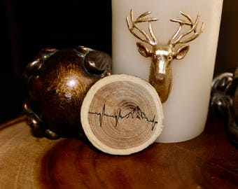 Heart Beats in the Mountains Wood Chip Magnet