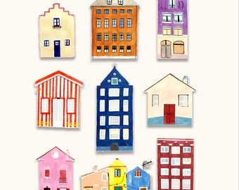 Watercolour houses,buildings stickers, planner, journal, craft stickers