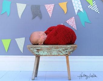 Newborn Boy Digital Backdrop/Background Blue Pennant Banner Vintage Bench