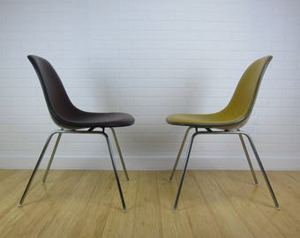 Pair of Eames Herman Miller Upholstered Naugahyde Side Chairs