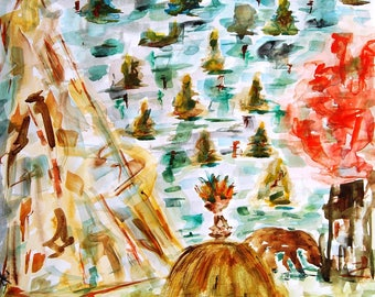 Painting - acrylic - abstract landscape watercolor - charcoal - free Art