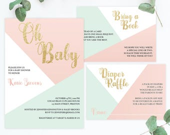 Baby Shower Set Baby Shower Invitation Template Download Baby Invitations Baby Girl Shower Invites Baby Girl Shower Invitation Printable GP1
