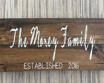 Family Name Wood Sign - Established Family Wood Sign